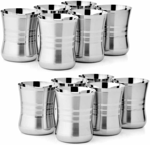INDOROX (Pack of 12) Stainless Steel Glasses Set of 12 For Water Glass Set