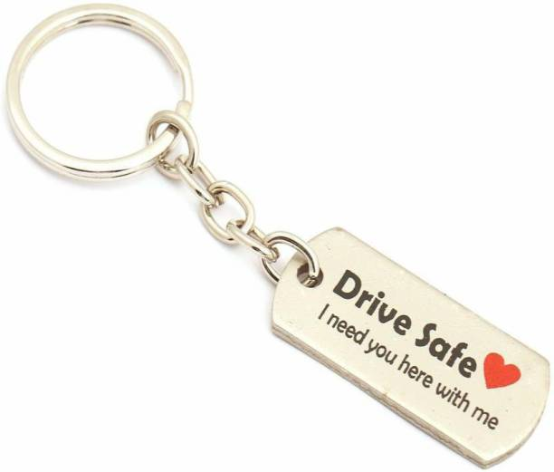 seasons Drive Safe I Need You Here with Me metal matte silver key chain Key Chain