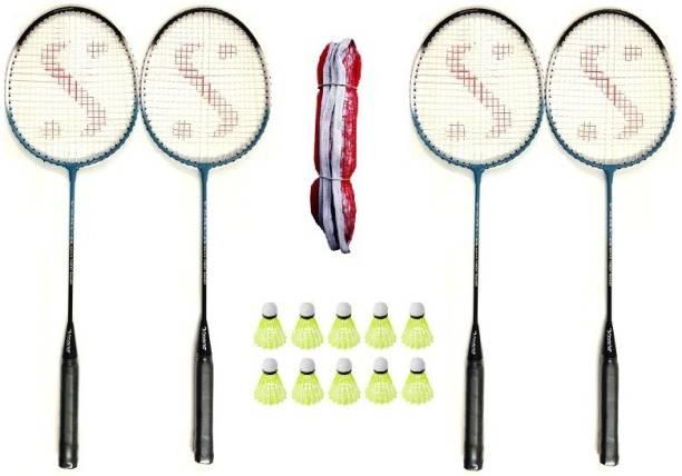 Monika Sports Badminton Combo pair of 2 racquets + 10 pc Shuttle cock Badminton Kit