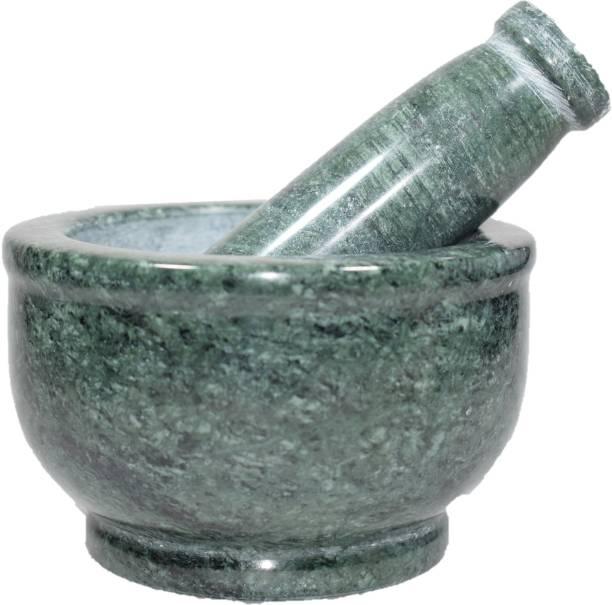 Tanishka Creations Green Marble Mortar and Pastle / Okhli Musli / Imam Dasta / Khalbatta / Kharal / Masher Marble Masher