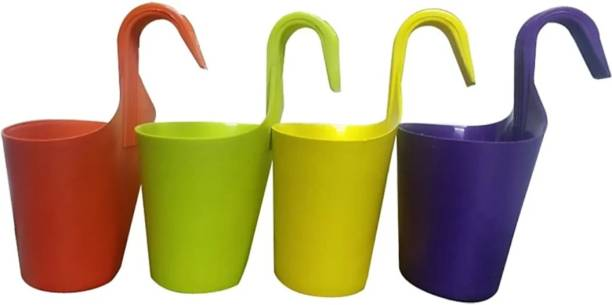 Bromine HANGING FLOWER POT SET OF 4 Plant Container Set