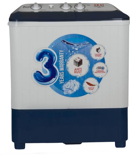 Akai 6.5 kg Semi Automatic Top Load White, Blue