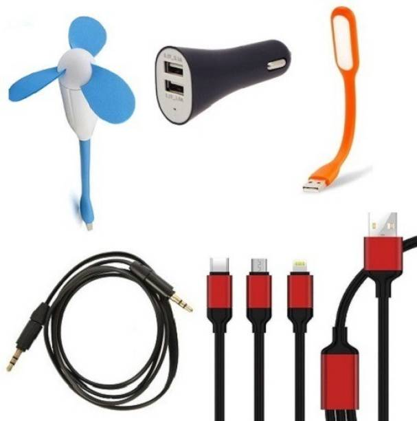De AutoCare Set Of Mobile Accessories Kit Of, Flexible USB Fan, Flexible USB 3 LED Light, Flat Aux Cable, Dual USB Car Charger And, 3 In 1 Charging Cable Combo