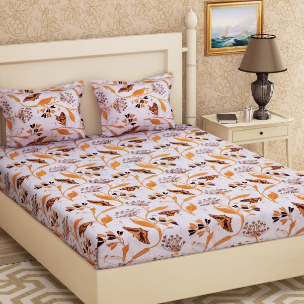 METRO LIVING 104 TC Cotton Double Abstract Bedsheet
