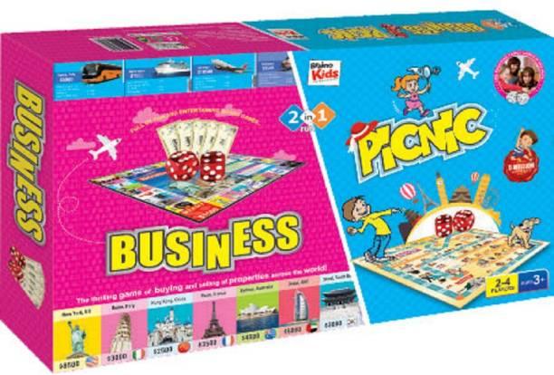 Braino Kids 2 IN1 FUN - INTERNATION BUSSINESS & FUN PICNIC Indoor Sports Games Board Game