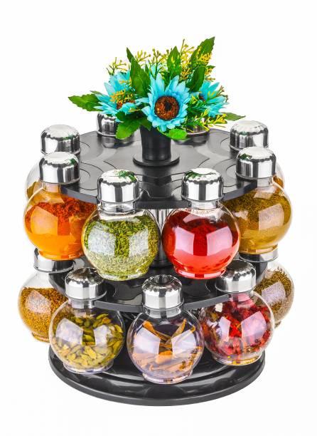 Alexa 360° Spice Jars Masala Jars Spice Box Masala Box Set Of 16  - 250 ml Plastic, Steel Grocery Container