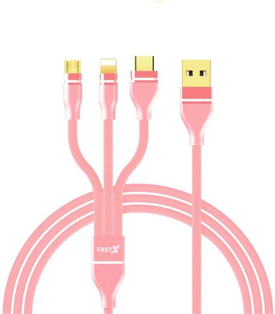 FASTX 3 in 1 Cable Nylon Braided with Fast Charging Multi Charge Option 1 m Micro USB Cable
