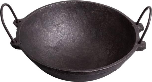The Indus Valley Cast Iron Kadai [ 2.5L   10 Inches  Pre - Seasoned ] Perfect for 3-4 family members Kadhai 27 cm diameter 2.5 L capacity