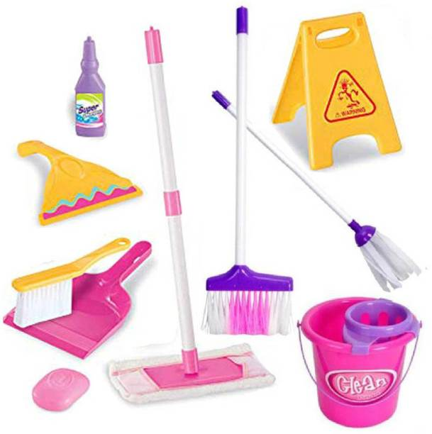 HALO NATION Kids Cleaning Set 11 Piece - Toy Kitchen Toddler Cleaning Set