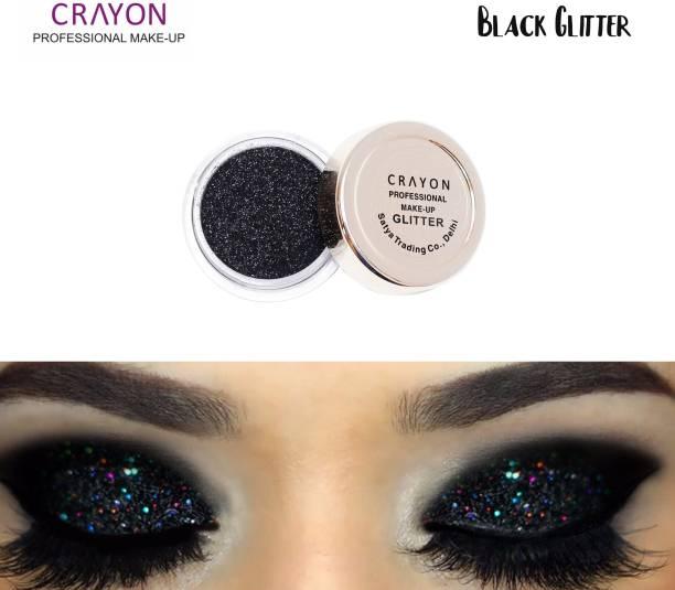 crayon black glitter