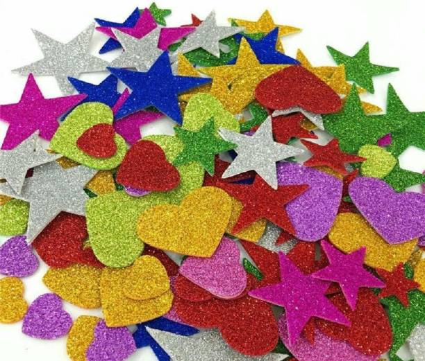 SHARMA BUSINESS Small SET OF 120 MIX GLITTER CUT OUT STICKER FOR PROJECT AND ASSIGNMENT WORK SHAPES LIKE HEART, STAR, FLOWER, SMILEY AND BUTTERFLY ETC.