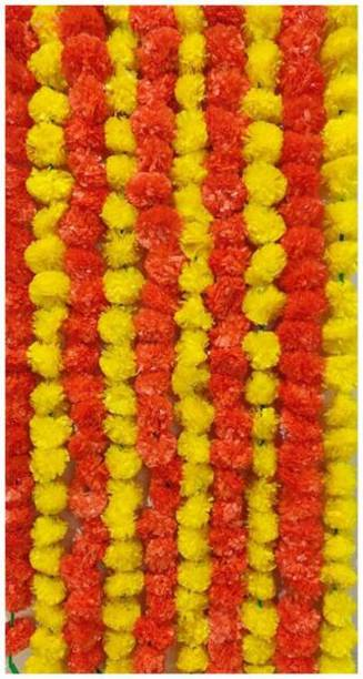 DilSe Marigold Garland Artificial Flowers -Fake Flower Decoration for Indian, Diwali, Housewarming and Baby Shower – 5 Ft, 10 Strands -Orange and Yellow Yellow, Orange Marigold Artificial Flower