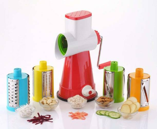 Paybox 4 in 1 Drum Rotary Vegetable Cutter, Shredder, Grater & Slicer Vegetable Grater & Slicer (1 x Main Unit with Handle & Pusher, 1 x Thin Slicer, 1 x Thick Slicer, 1 x Thin Shredder, 1 x Thick Shredder) Vegetable Grater & Slicer