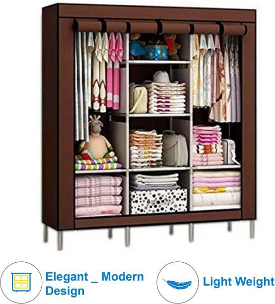 Traders5253 6+2 Shelves 3 door 88143 Carbon Steel Collapsible Wardrobe
