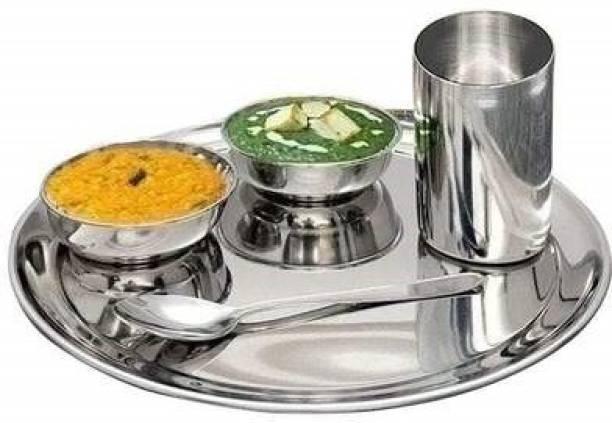 Shri & Sam Pack of 5 Stainless Steel High Grade Stainless Steel Premium Thali Set, 5-Pieces, Silver Dinner Set