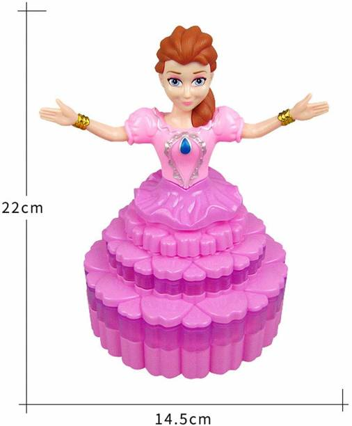 Thrivanta Cake Shape Princess Dancing Doll 360 d Rotating Skirt with 3D Lights and Music ( Birthday Gift for Girls)