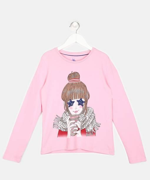U.S. Polo Assn. Kids Girls Printed Pure Cotton T Shirt