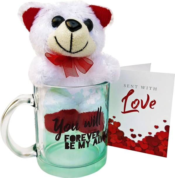 HOT MUGGS You will forever be my always with Teddy & Card Glass Coffee Mug