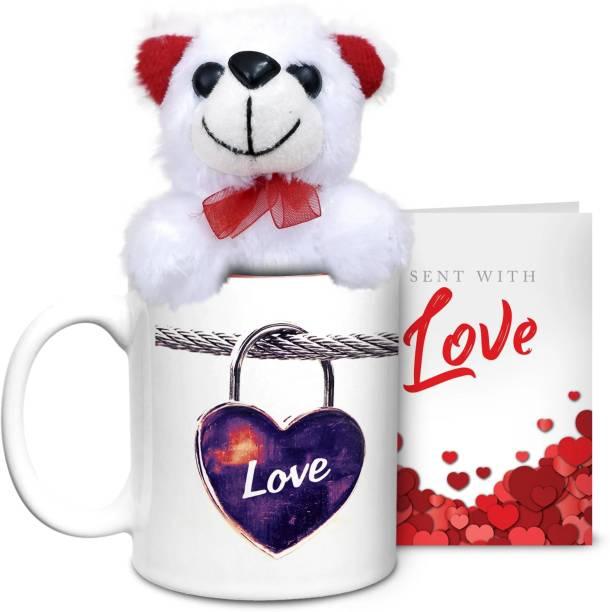HOT MUGGS Love Locked with Teddy & Card Ceramic Coffee Mug