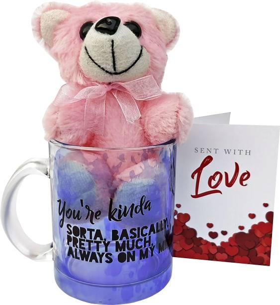 HOT MUGGS You're kinda, sorta, basically, pretty much, always on my mind with Teddy & Card Glass Coffee Mug