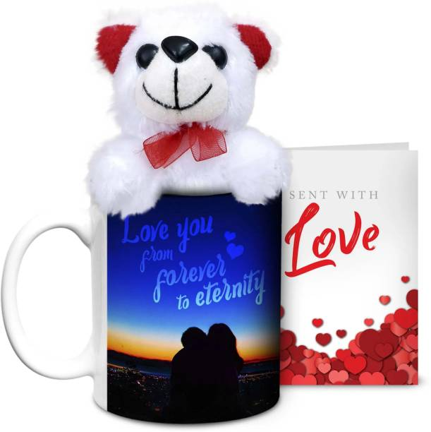 HOT MUGGS Love you from forever to eternity with Teddy & Card Ceramic Coffee Mug