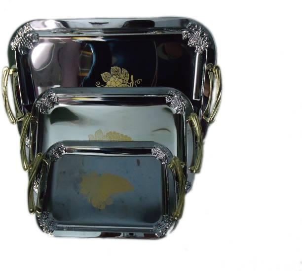 Mega Shine golden beautiful designed handle for Serve Food, Coffee ,Tea, Fruit, Desert Plate Bowl Serving Set