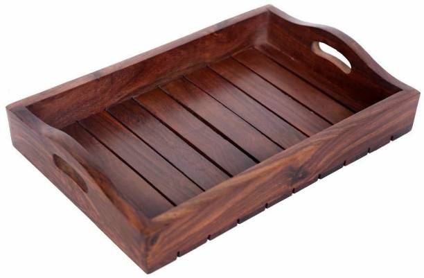 Century 21 Wooden Serving Decorative Tray Handcrafted 12 inch Long (Brown) Tray