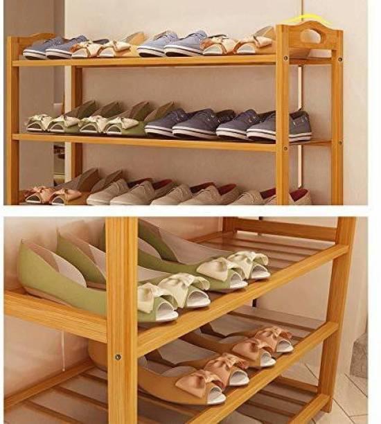 Yutiriti 3 Tier Bamboo Wooden Shoe Storage Rack Household Organizer - 27x9.3x35 inch Solid Wood Shoe Stand