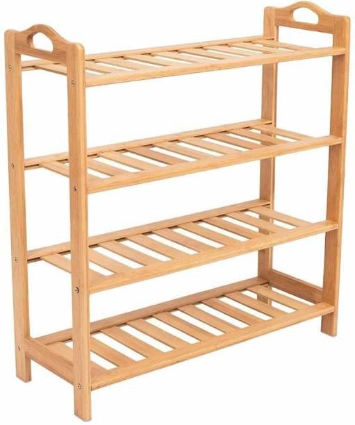 Yutiriti 4 Tier Bamboo Wooden Shoe Storage Rack Household Organizer - 27x9.5x26.5 inch Solid Wood Shoe Rack