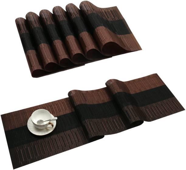 Royalkart Brown, Black PVC Table Linen Set