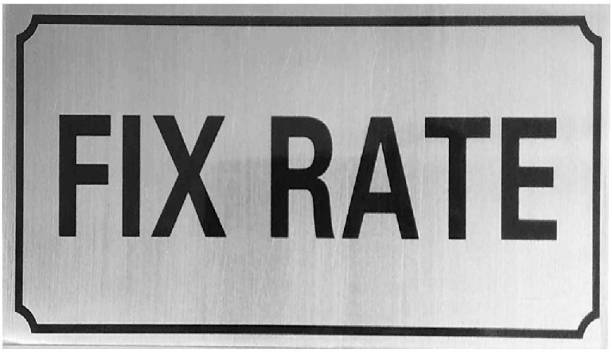 DEZIINE 'Fixed Rate' Self Adhesive Stainless Steel Metal Signage Board Sign