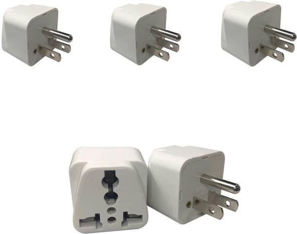 HI-PLASST (3- pcs) 3-Prong TYPE-B Heavy Quality Universal Electrical AC Wall Plug Worldwide Adaptor