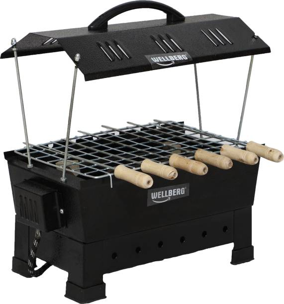 WELLBERG Multi 2-in-1 Electric & Non Electric Barbeque Grill (Small) with 12 Months Warrenty for Heating Elements Electric Grill