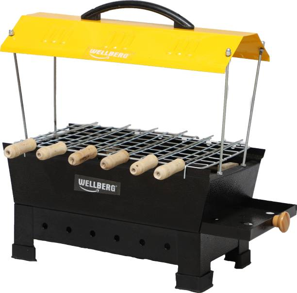 WELLBERG Camping Barbecue Grill, Tandoor, Toaster, Roaster / Fully Electric & Charcoal / Compact & Portable, Large Size, Yellow Electric Grill