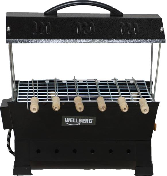 WELLBERG Electric & Charcoal Barbeque Grill & Tandoor with 4 Skewers-Black Electric Grill