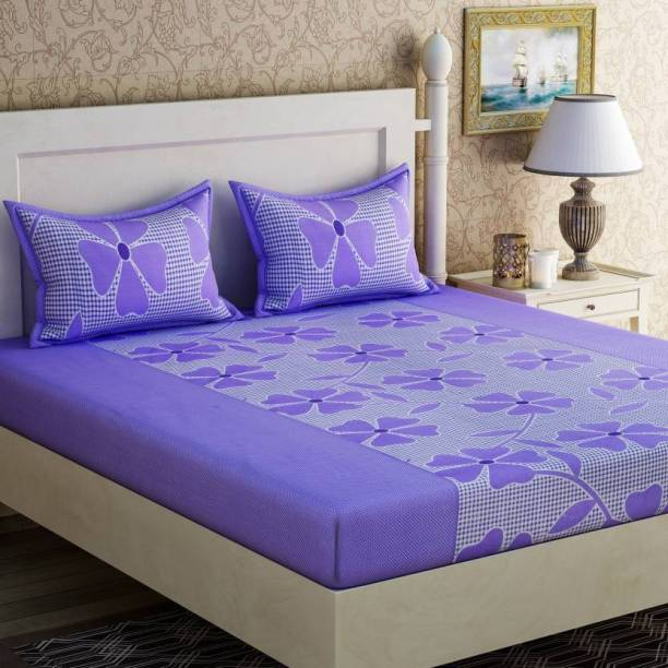 yatin fab 140 TC Cotton Double Floral Bedsheet
