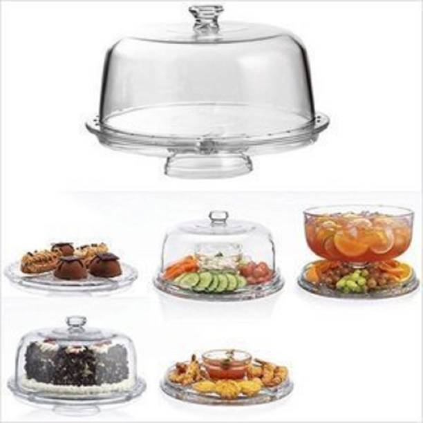 Vpllex Multifunctional 3 in 1 Clear Acrylic Round Cake Stand with Dome Lid Cover for Party Glass Cake Server