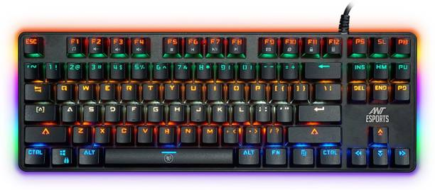 Ant Esports MK1000 Multicolour LED Backlit Wired TKL Mechanical Keyboard, 87 Keys 100% Anti-ghosting with Metal top Panel and Water Wired USB Gaming Keyboard
