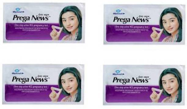 Mankind Prega News pack of 4 (One step Urine HCG pregnancy Test) Pregnancy Test Kit Pregnancy Test Kit