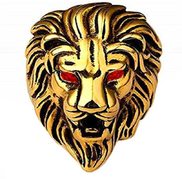 Men Style Biker Men Gold Plated Ruby Red Stone Lion Head Metal Ruby Gold Plated Ring
