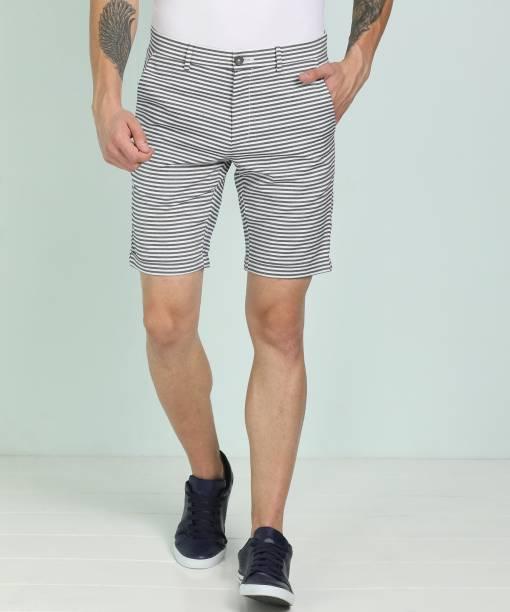 Scullers Striped Men White, Blue Basic Shorts