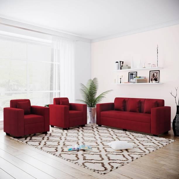 Bharat Lifestyle Desy Fabric 3 + 1 + 1 Maroon Sofa Set