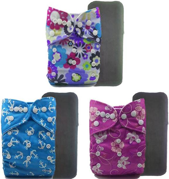 crawl'in Nappy with Charcoal Bamboo Inserts - Pack of 3-Flower Bucket - New Born