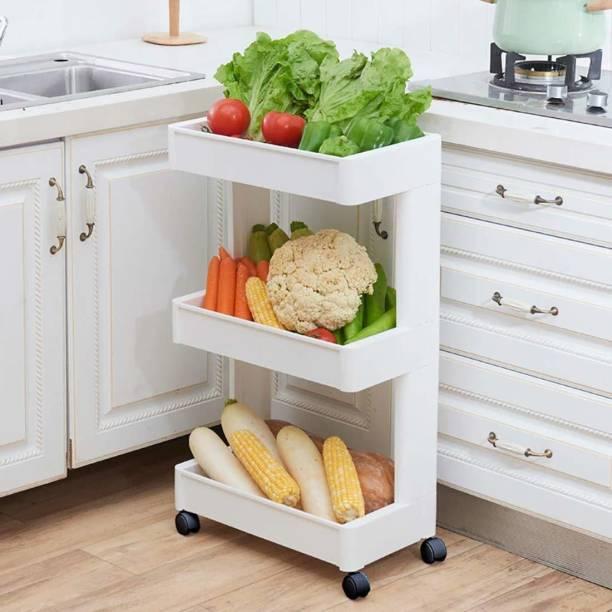 Livzing Livzing 3-tier Space Saving Storage Rack Organizer Multipurpose Kitchen Bathroom Shelf With Wheels Plastic Kitchen Trolley