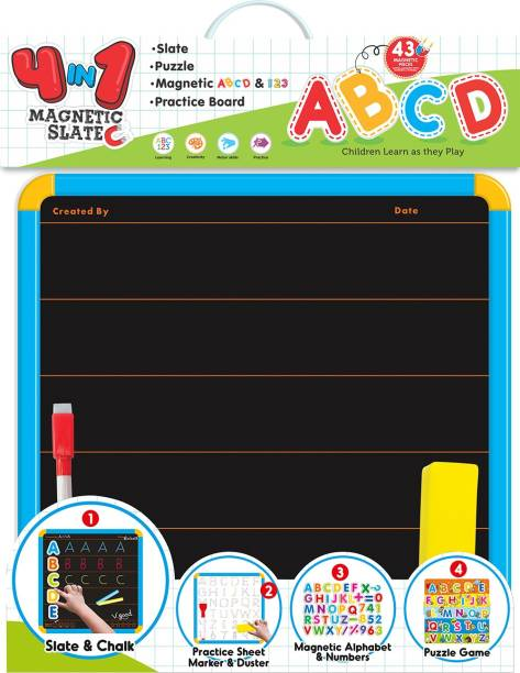 ITOYS 4-in-1 magnetic slate with alphabets and numbers