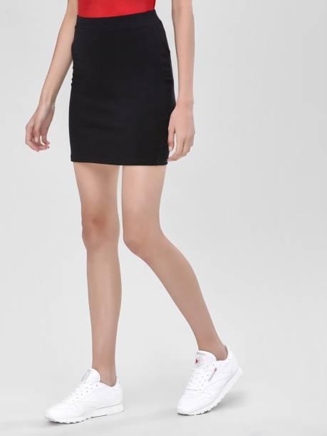 SIGHTBOMB Solid Women Pencil Black Skirt