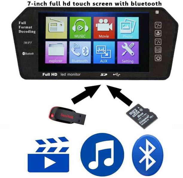 Auto Snap 7 Inch 16:9 TFT LED Car Rearview Monitor Mirror with Touch Button, Remote Control, Bluetooth Connectivity , SD Card, USB and Support Two Ways of Video Output for Reverse View, Compatible for All Cars - High Screen Resolution Black LED