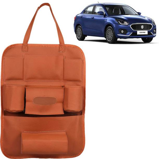 VOCADO PU Leather Car Auto Seat Back Organizer Multi Pocket Travel Storage Bag with Hangers, Tissue Paper and Bottle Holder Tan For Swift Dzire Car Multi Pocket