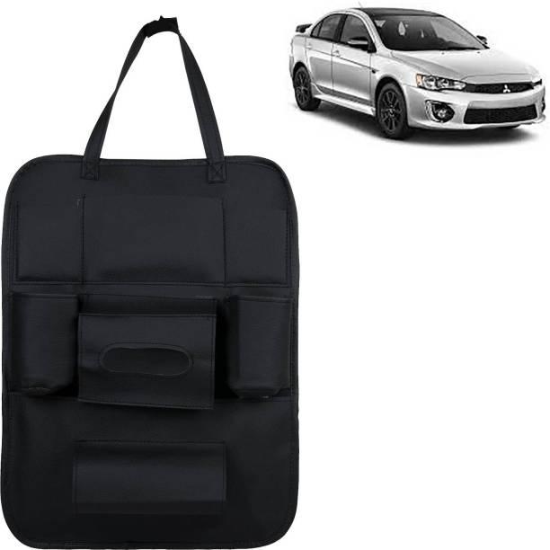 VOCADO PU Leather Car Auto Seat Back Organizer Multi Pocket Travel Storage Bag with Hangers, Tissue Paper and Bottle Holder Black For Lancer Car Multi Pocket