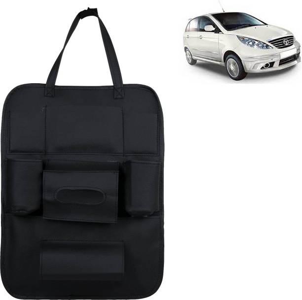 VOCADO PU Leather Car Auto Seat Back Organizer Multi Pocket Travel Storage Bag with Hangers, Tissue Paper and Bottle Holder Black For Indica Vista Car Multi Pocket